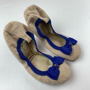 Yosi Samra   Flats Samara Blue Bow Linen Foldable